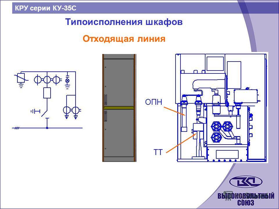 Типоисполнения шкафов Отходящая линия КРУ серии КУ-35С ОПН ТТ