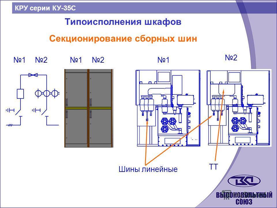 Типоисполнения шкафов Секционирование сборных шин КРУ серии КУ-35С Шины линейные ТТ 12121 2