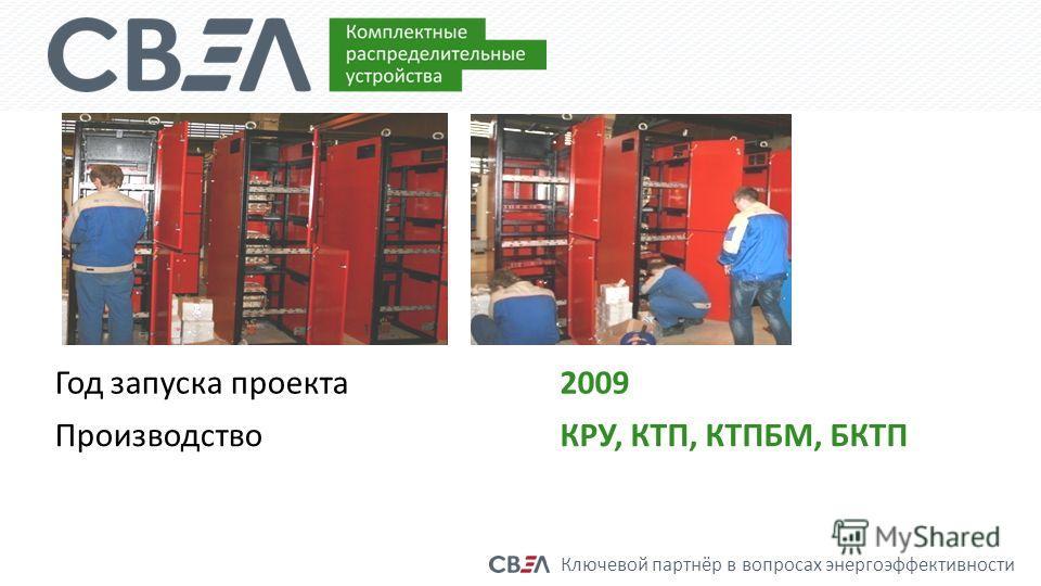 Ключевой партнёр в вопросах энергоэффективности Год запуска проекта2009 ПроизводствоКРУ, КТП, КТПБМ, БКТП