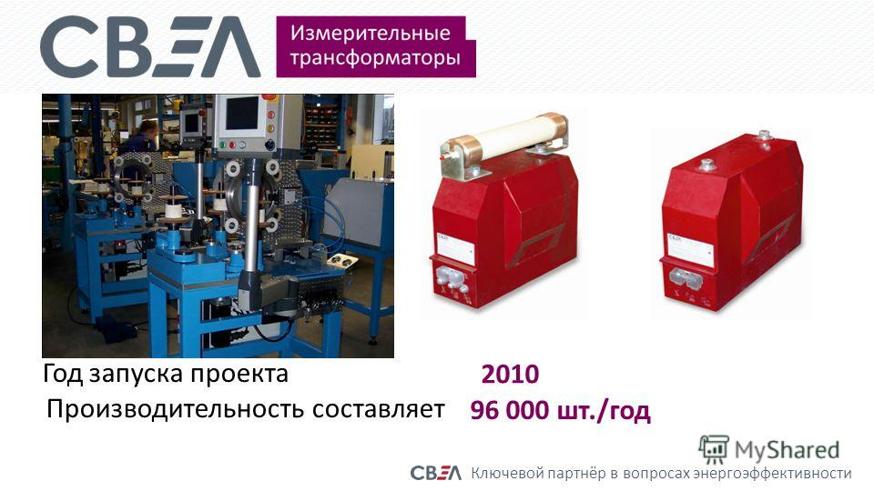 Ключевой партнёр в вопросах энергоэффективности Год запуска проекта 2010 Производительность составляет 96 000 шт./год
