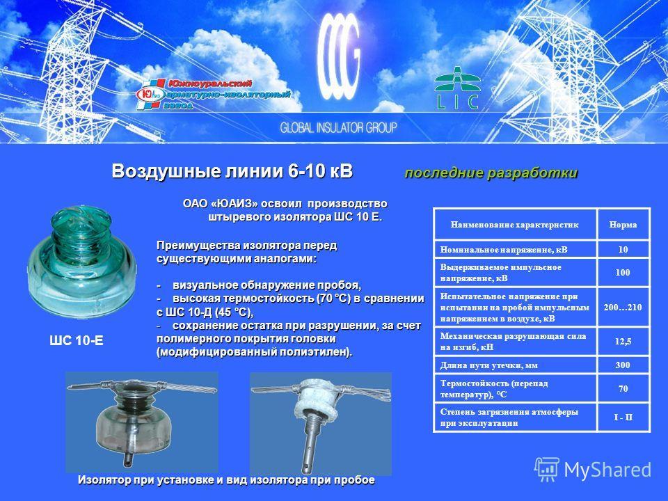 Наименование характеристикНорма Номинальное напряжение, кВ 10 Выдерживаемое импульсное напряжение, кВ 100 Испытательное напряжение при испытании на пробой импульсным напряжением в воздухе, кВ 200…210 Механическая разрушающая сила на изгиб, кН 12,5 Дл