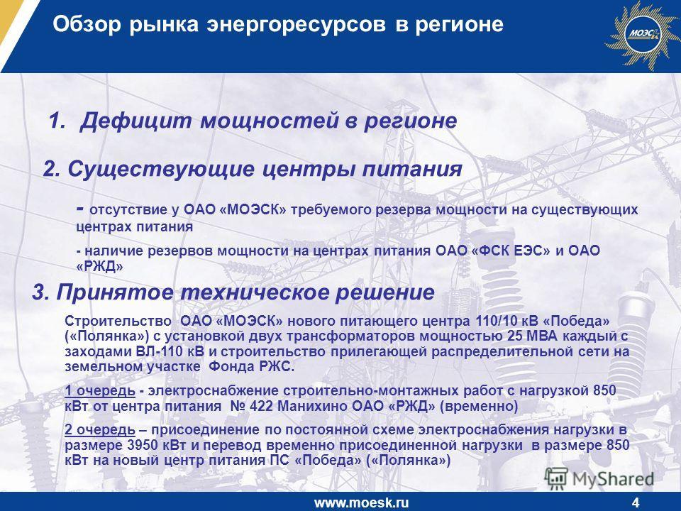 www.moesk.ru4 Обзор рынка энергоресурсов в регионе 1.Дефицит мощностей в регионе 2. Существующие центры питания - отсутствие у ОАО «МОЭСК» требуемого резерва мощности на существующих центрах питания - наличие резервов мощности на центрах питания ОАО