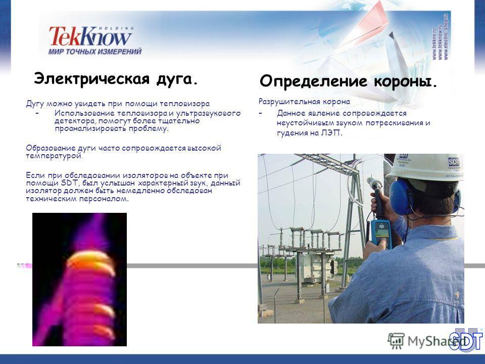 Определение короны. Разрушительная корона –Данное явление сопровождается неустойчивым звуком потрескивания и гудения на ЛЭП. Электрическая дуга. Дугу можно увидеть при помощи тепловизора –Использование тепловизора и ультразвукового детектора, помогут