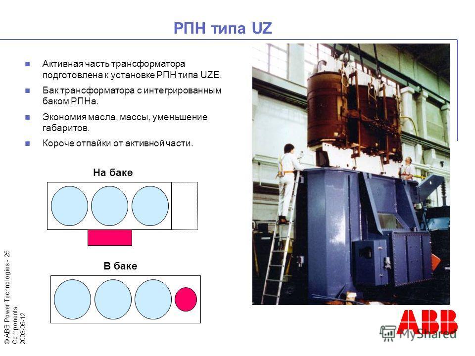 © ABB Power Technologies - 25 Components 2003-05-12 Активная часть трансформатора подготовлена к установке РПН типа UZE. Бак трансформатора с интегрированным баком РПНа. Экономия масла, массы, уменьшение габаритов. Короче отпайки от активной части. Р