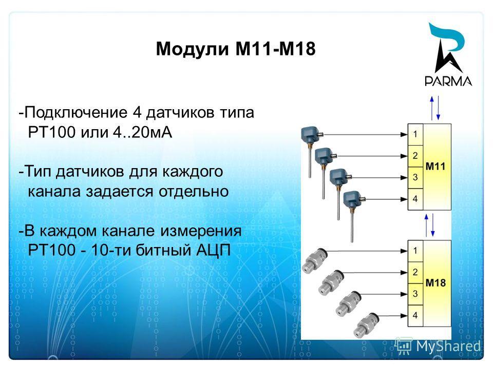 Модули М11-M18 -Подключение 4 датчиков типа PT100 или 4..20мА -Тип датчиков для каждого канала задается отдельно -В каждом канале измерения PT100 - 10-ти битный АЦП