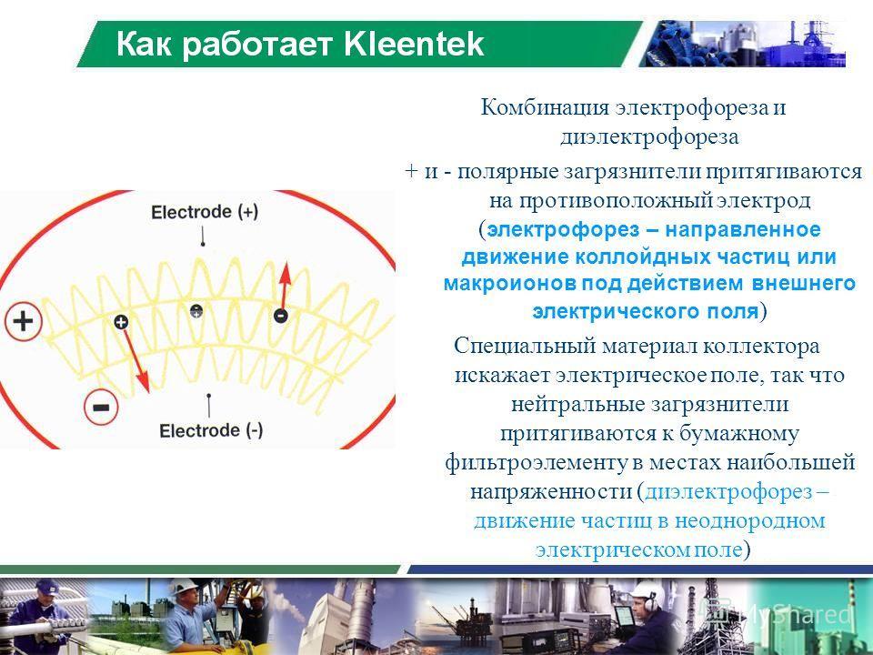 Комбинация электрофореза и диэлектрофореза + и - полярные загрязнители притягиваются на противоположный электрод ( электрофорез – направленное движение коллойдных частиц или макроионов под действием внешнего электрического поля ) Специальный материал