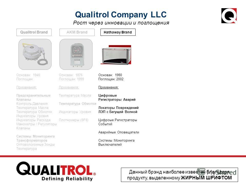 AKM Brand Hathaway Brand Qualitrol Brand Qualitrol Company LLC Рост через инновации и поглощения Данный брэнд наиболее известен благодаря продукту, выделенному ЖИРНЫМ ШРИФТОМ Основан: 1946 Поглощен: Применения: Предохранительные Клапаны Контроль Давл