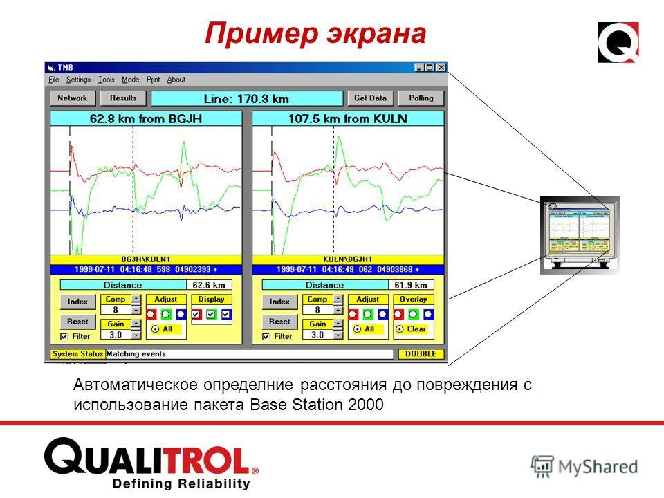 Пример экрана Автоматическое определние расстояния до повреждения с использование пакета Base Station 2000