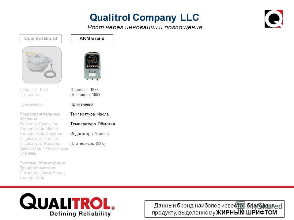 AKM BrandQualitrol Brand Qualitrol Company LLC Рост через инновации и поглощения Данный брэнд наиболее известен благодаря продукту, выделенному ЖИРНЫМ ШРИФТОМ Основан: 1876 Поглощен: 1999 Применения: Температура Масла Температура Обмотки Индикаторы У