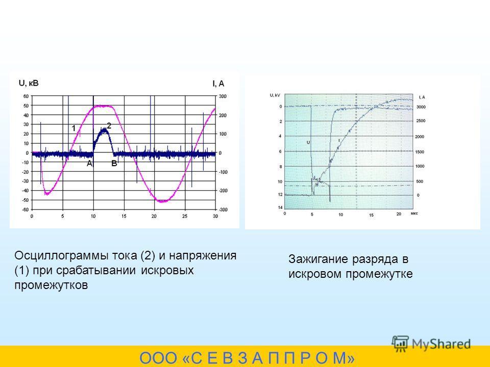 Осциллограммы тока (2) и напряжения (1) при срабатывании искровых промежутков Зажигание разряда в искровом промежутке ООО «С Е В З А П П Р О М»