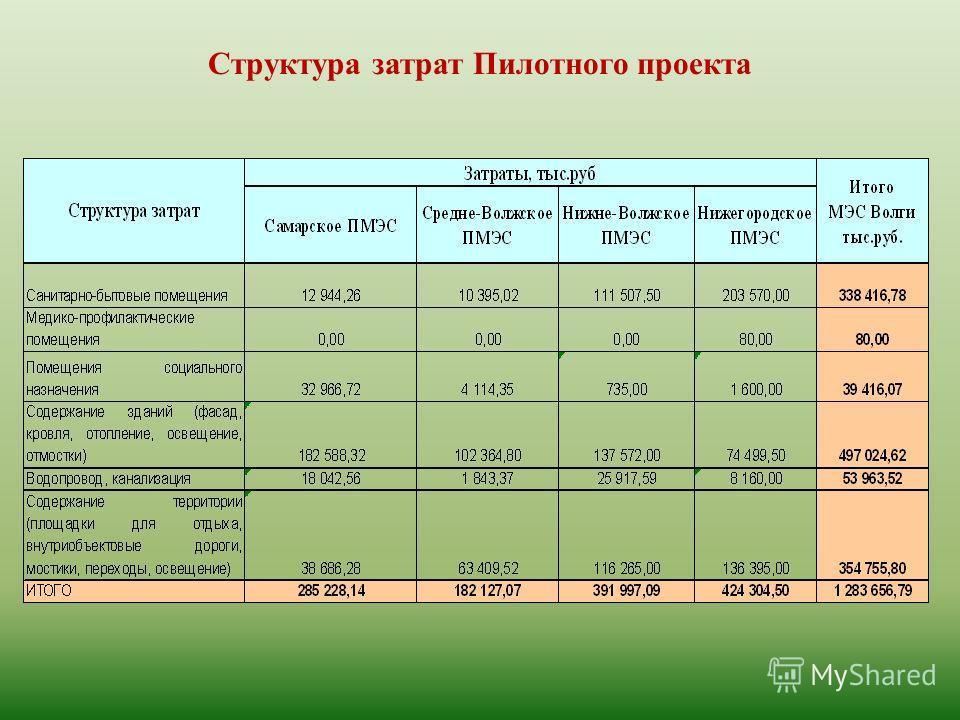 Структура затрат Пилотного проекта