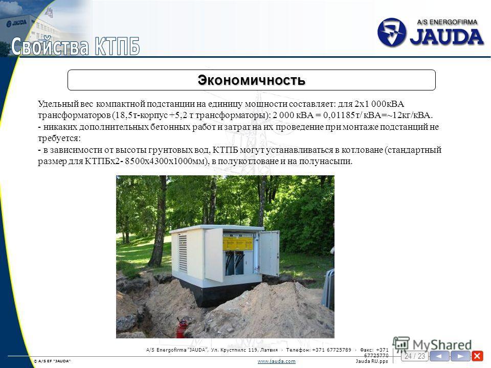 © A/S EF JAUDA 24 / 23 www.jauda.comwww.jauda.comJauda RU.pps A/S Energofirma JAUDA, Ул. Крустпилс 119, Латвия · Телефон: +371 67725789 · Факс: +371 67725770 Экономичность Удельный вес компактной подстанции на единицу мощности составляет: для 2х1 000