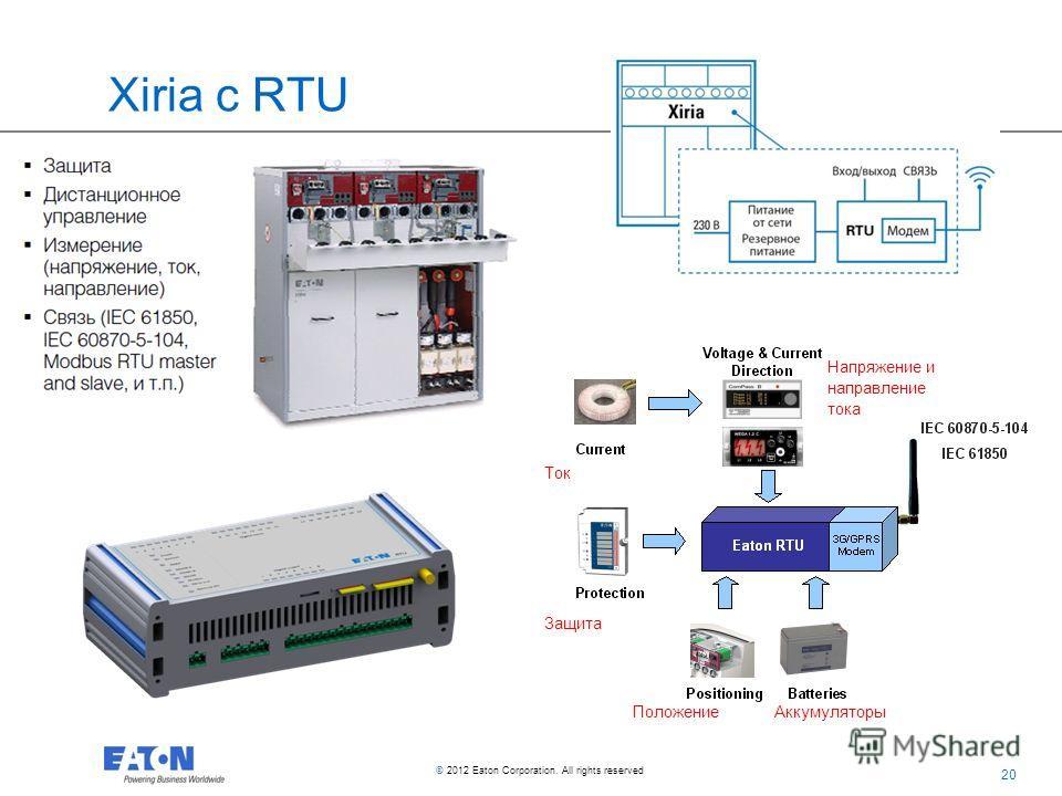 20 © 2012 Eaton Corporation. All rights reserved. Xiria с RTU АккумуляторыПоложение Защита Ток Напряжение и направление тока
