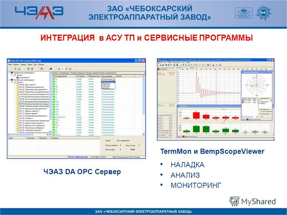 ИНТЕГРАЦИЯ в АСУ ТП и СЕРВИСНЫЕ ПРОГРАММЫ ЧЭАЗ DA OPC Сервер TermMon и BempScopeViewer НАЛАДКА АНАЛИЗ МОНИТОРИНГ