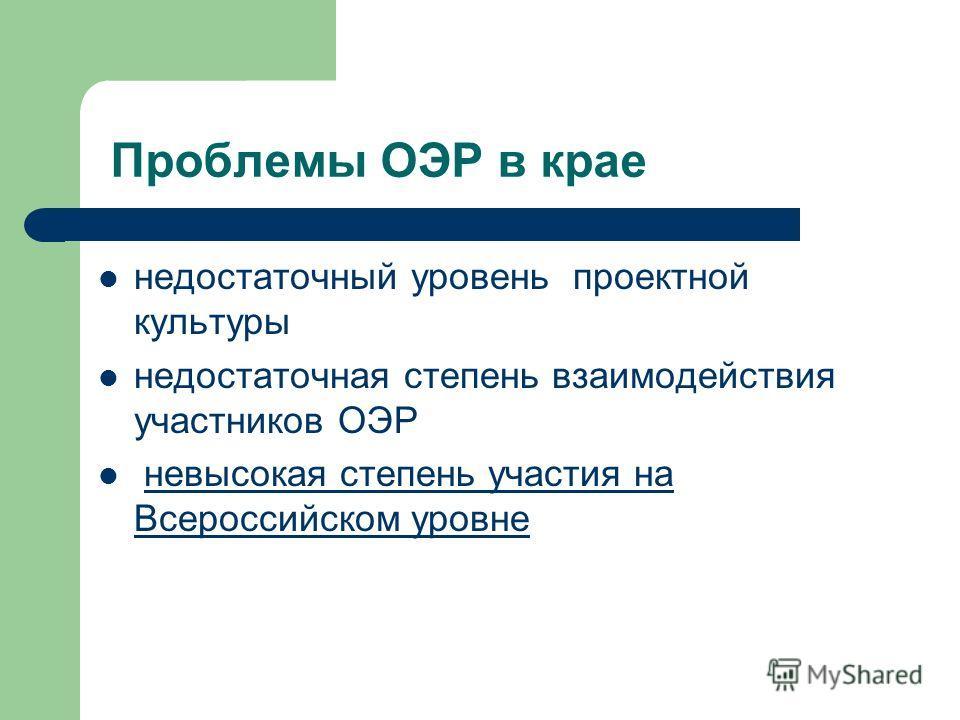 Проблемы ОЭР в крае недостаточный уровень проектной культуры недостаточная степень взаимодействия участников ОЭР невысокая степень участия на Всероссийском уровне