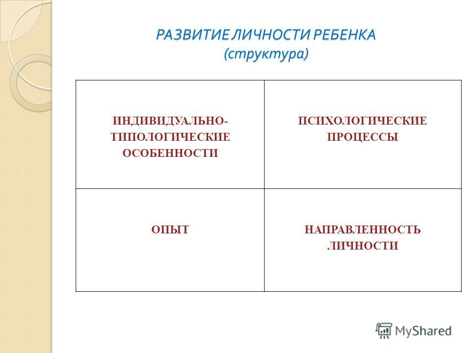 РАЗВИТИЕ ЛИЧНОСТИ РЕБЕНКА ( структура ) ИНДИВИДУАЛЬНО- ТИПОЛОГИЧЕСКИЕ ОСОБЕННОСТИ ПСИХОЛОГИЧЕСКИЕ ПРОЦЕССЫ ОПЫТНАПРАВЛЕННОСТЬ ЛИЧНОСТИ