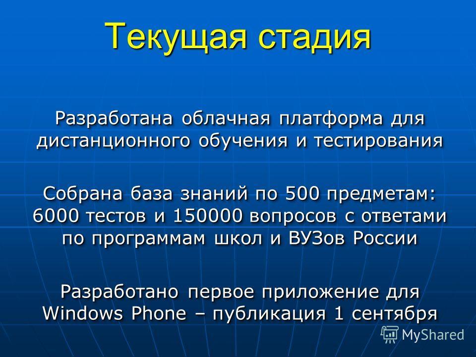 Текущая стадия Разработана облачная платформа для дистанционного обучения и тестирования Собрана база знаний по 500 предметам: 6000 тестов и 150000 вопросов с ответами по программам школ и ВУЗов России Разработано первое приложение для Windows Phone