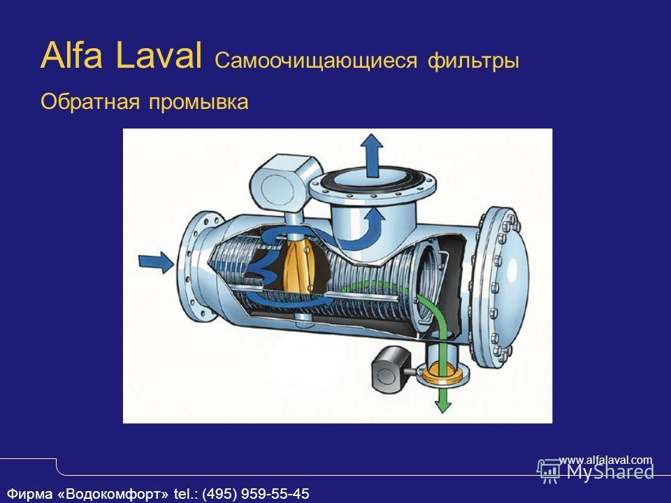 www.alfalaval.com Обратная промывка Alfa Laval Самоочищающиеся фильтры Фирма «Водокомфорт» tel.: (495) 959-55-45