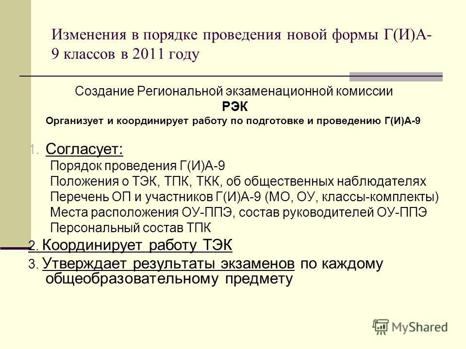 Изменения в порядке проведения новой формы Г(И)А- 9 классов в 2011 году Создание Региональной экзаменационной комиссии РЭК Организует и координирует работу по подготовке и проведению Г(И)А-9 1. Согласует: Порядок проведения Г(И)А-9 Положения о ТЭК, Т