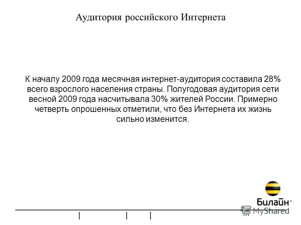 Аудитория российского Интернета К началу 2009 года месячная интернет-аудитория составила 28% всего взрослого населения страны. Полугодовая аудитория сети весной 2009 года насчитывала 30% жителей России. Примерно четверть опрошенных отметили, что без