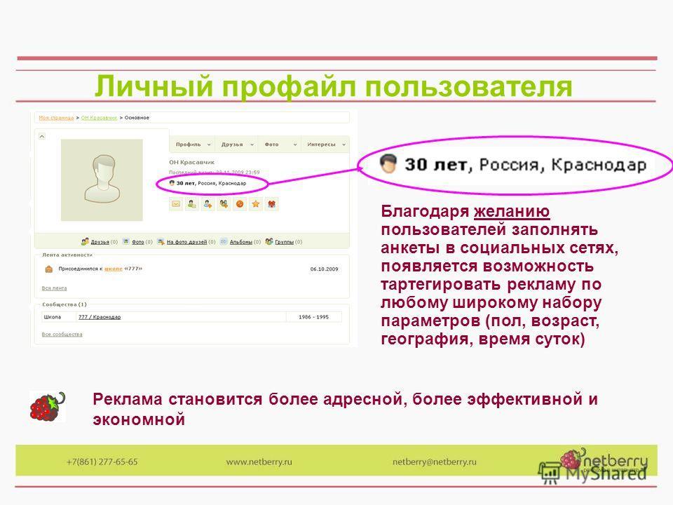 Личный профайл пользователя Реклама становится более адресной, более эффективной и экономной Благодаря желанию пользователей заполнять анкеты в социальных сетях, появляется возможность тартегировать рекламу по любому широкому набору параметров (пол,