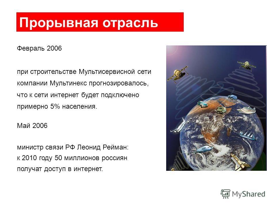 Прорывная отрасль Февраль 2006 при строительстве Мультисервисной сети компании Мультинекс прогнозировалось, что к сети интернет будет подключено примерно 5% населения. Май 2006 министр связи РФ Леонид Рейман: к 2010 году 50 миллионов россиян получат