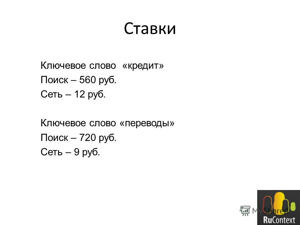 Ставки Ключевое слово «кредит» Поиск – 560 руб. Сеть – 12 руб. Ключевое слово «переводы» Поиск – 720 руб. Сеть – 9 руб.