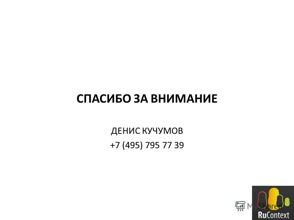 СПАСИБО ЗА ВНИМАНИЕ ДЕНИС КУЧУМОВ +7 (495) 795 77 39