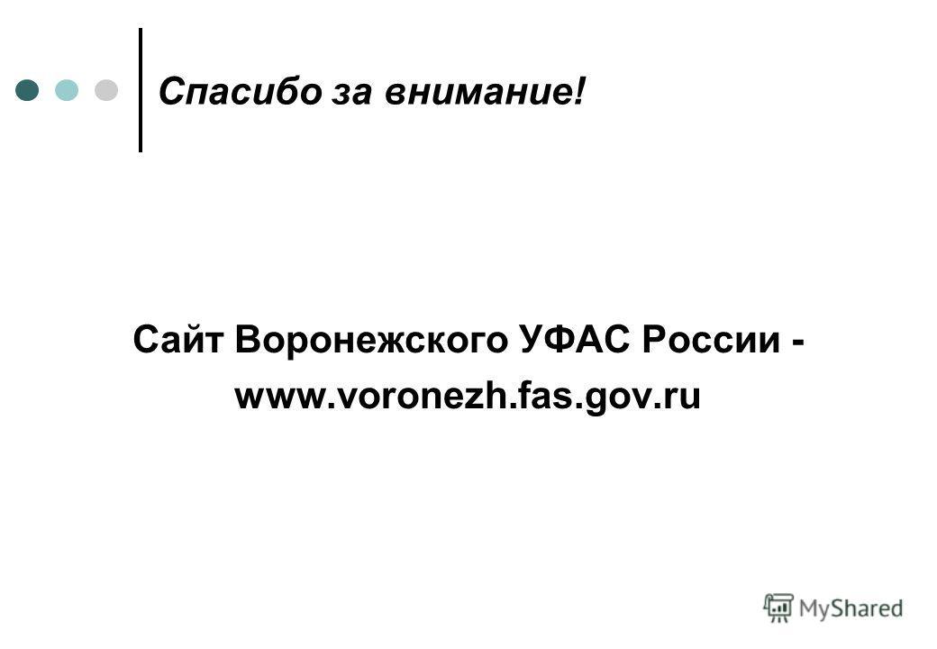 Спасибо за внимание! Сайт Воронежcкого УФАС России - www.voronezh.fas.gov.ru