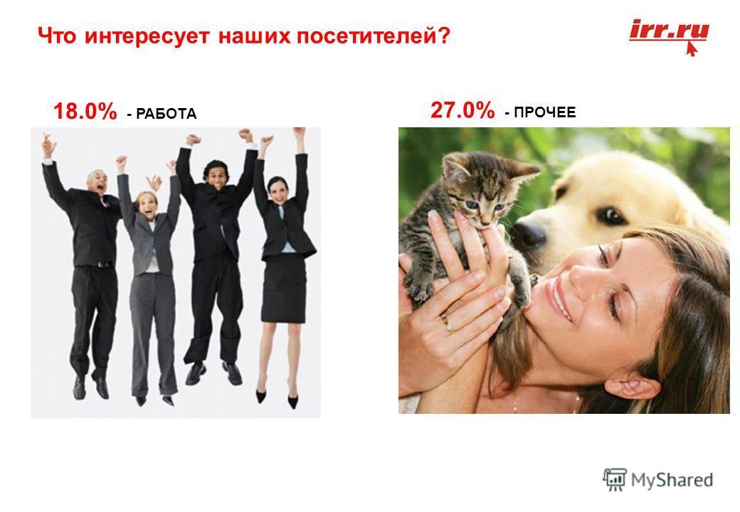 Что интересует наших посетителей? 18.0% - РАБОТА 27.0% - ПРОЧЕЕ