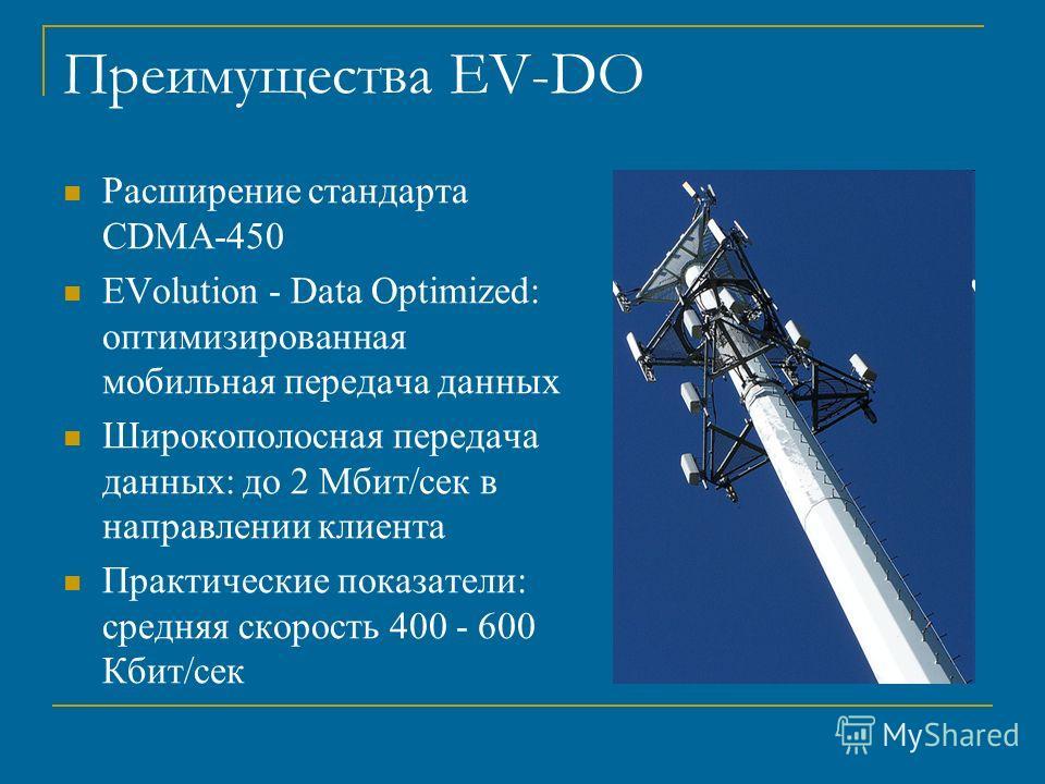 Преимущества EV-DO Расширение стандарта CDMA-450 EVolution - Data Optimized: оптимизированная мобильная передача данных Широкополосная передача данных: до 2 Мбит/сек в направлении клиента Практические показатели: средняя скорость 400 - 600 Кбит/сек