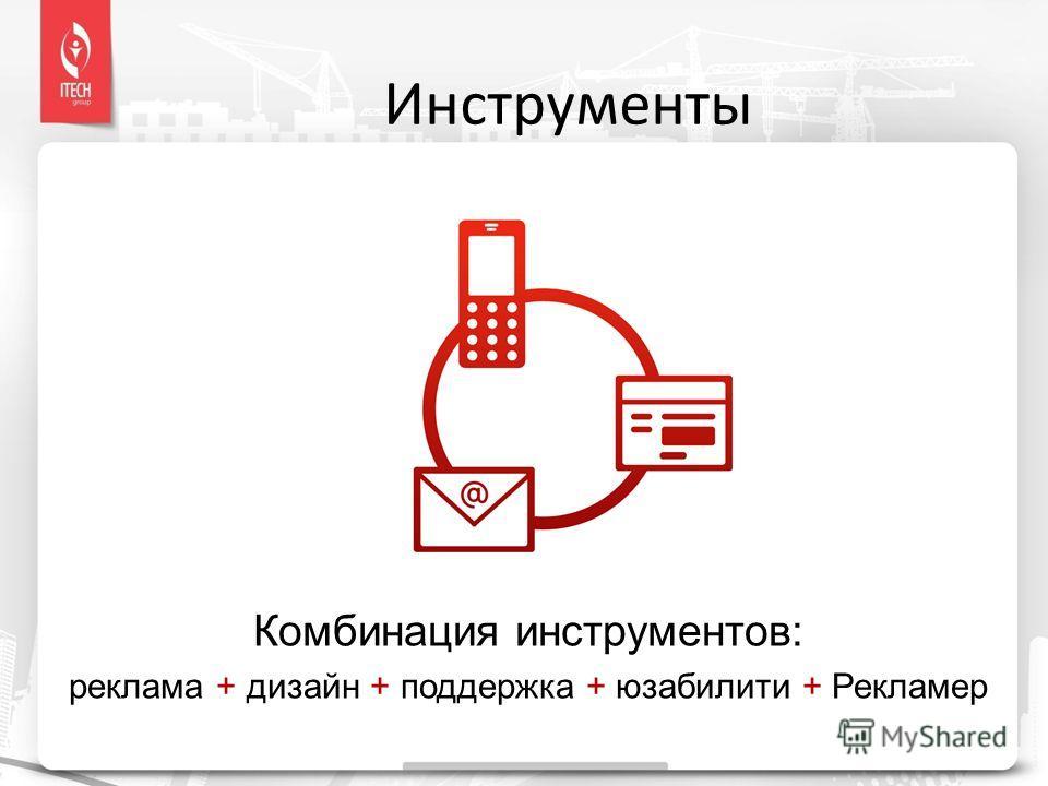 Комбинация инструментов: реклама + дизайн + поддержка + юзабилити + Рекламер Инструменты