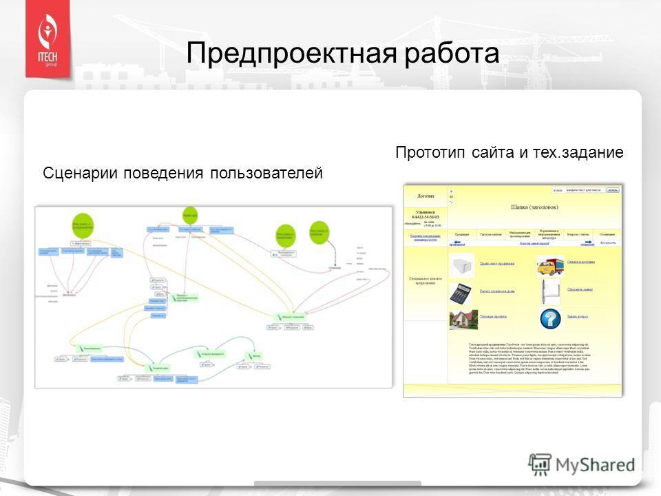 Предпроектная работа Сценарии поведения пользователей Прототип сайта и тех.задание