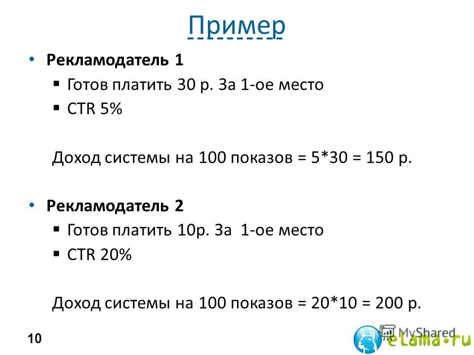 Пример Рекламодатель 1 Готов платить 30 р. За 1-ое место CTR 5% Доход системы на 100 показов = 5*30 = 150 р. Рекламодатель 2 Готов платить 10р. За 1-ое место CTR 20% Доход системы на 100 показов = 20*10 = 200 р. 10