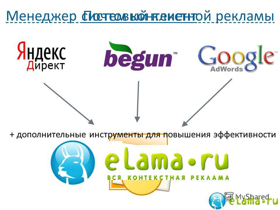 Менеджер систем контекстной рекламыПочтовый клиент + дополнительные инструменты для повышения эффективности
