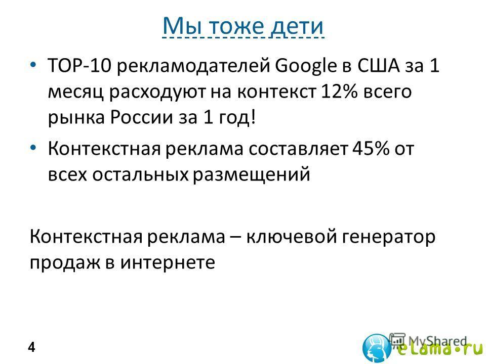 Мы тоже дети 4 ТОР-10 рекламодателей Google в США за 1 месяц расходуют на контекст 12% всего рынка России за 1 год! Контекстная реклама составляет 45% от всех остальных размещений Контекстная реклама – ключевой генератор продаж в интернете