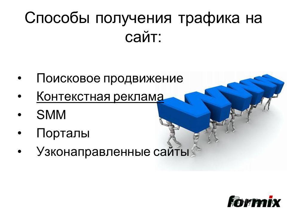 Способы получения трафика на сайт: Поисковое продвижение Контекстная реклама SMM Порталы Узконаправленные сайты