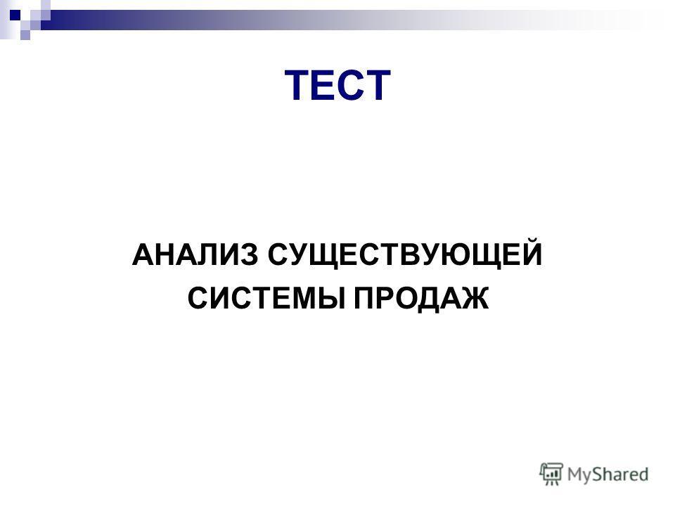 ТЕСТ АНАЛИЗ СУЩЕСТВУЮЩЕЙ СИСТЕМЫ ПРОДАЖ