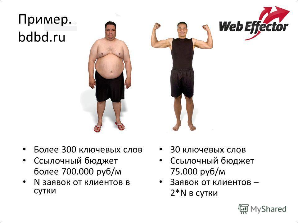 Пример. bdbd.ru Более 300 ключевых слов Ссылочный бюджет более 700.000 руб/м N заявок от клиентов в сутки 30 ключевых слов Ссылочный бюджет 75.000 руб/м Заявок от клиентов – 2*N в сутки