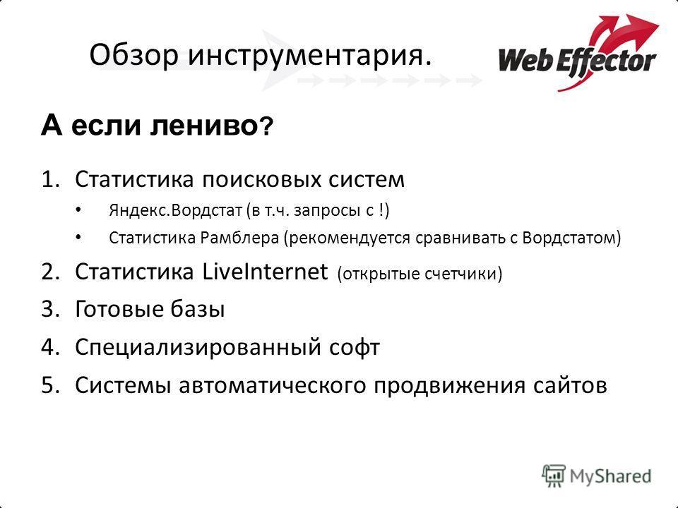 Обзор инструментария. А если лениво ? 1.Статистика поисковых систем Яндекс.Вордстат (в т.ч. запросы с !) Статистика Рамблера (рекомендуется сравнивать с Вордстатом) 2.Статистика LiveInternet (открытые счетчики) 3.Готовые базы 4.Специализированный соф