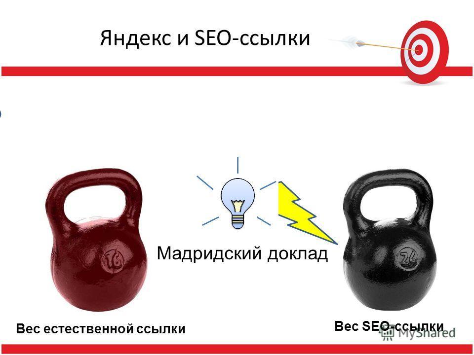 Яндекс и SEO-ссылки Я ндекс Вес естественной ссылки Вес SEO-ссылки Мадридский доклад