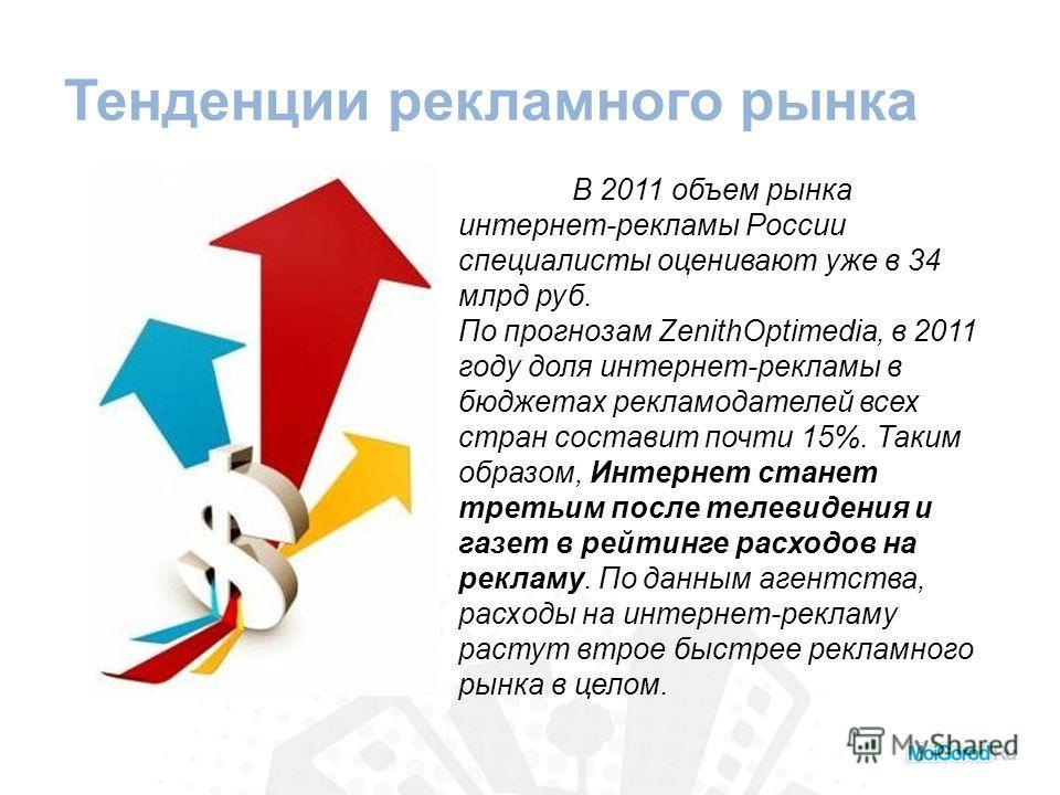 Тенденции рекламного рынка В 2011 объем рынка интернет-рекламы России специалисты оценивают уже в 34 млрд руб. По прогнозам ZenithOptimedia, в 2011 году доля интернет-рекламы в бюджетах рекламодателей всех стран составит почти 15%. Таким образом, Инт