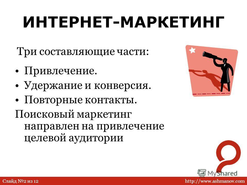 http://www.ashmanov.comСлайд 2 из 12 ИНТЕРНЕТ-МАРКЕТИНГ Привлечение. Удержание и конверсия. Повторные контакты. Поисковый маркетинг направлен на привлечение целевой аудитории Три составляющие части:
