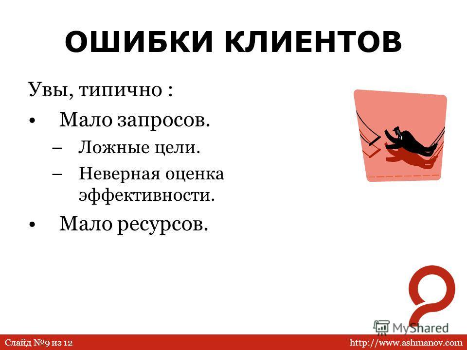 http://www.ashmanov.comСлайд 9 из 12 ОШИБКИ КЛИЕНТОВ Увы, типично : Мало запросов. –Ложные цели. –Неверная оценка эффективности. Мало ресурсов.