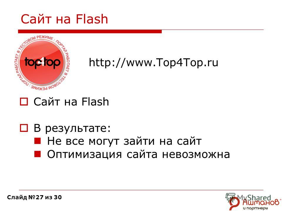 Сайт на Flash http://www.Top4Top.ru Сайт на Flash В результате: Не все могут зайти на сайт Оптимизация сайта невозможна Слайд 27 из 30