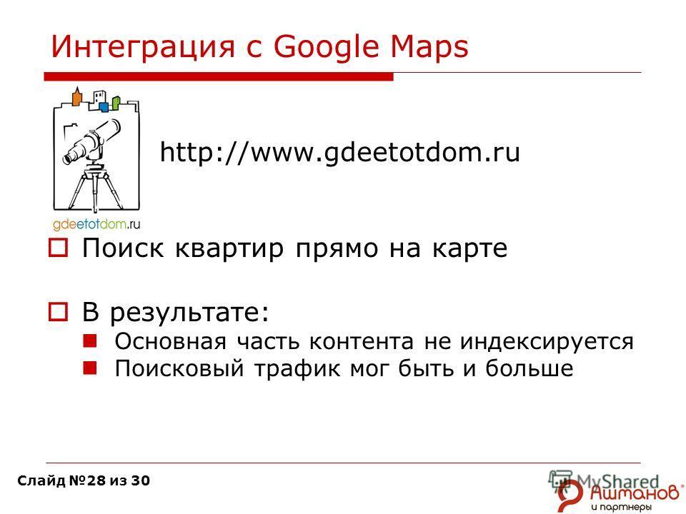 Интеграция с Google Maps http://www.gdeetotdom.ru Поиск квартир прямо на карте В результате: Основная часть контента не индексируется Поисковый трафик мог быть и больше Слайд 28 из 30