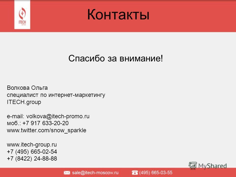 Контакты Спасибо за внимание! Волкова Ольга специалист по интернет-маркетингу ITECH.group e-mail: volkova@itech-promo.ru моб.: +7 917 633-20-20 www.twitter.com/snow_sparkle www.itech-group.ru +7 (495) 665-02-54 +7 (8422) 24-88-88