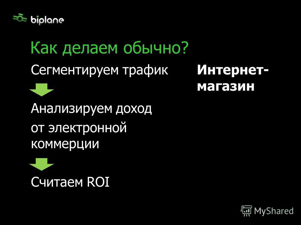 Сегментируем трафик Анализируем доход от электронной коммерции Считаем ROI Как делаем обычно? Интернет- магазин