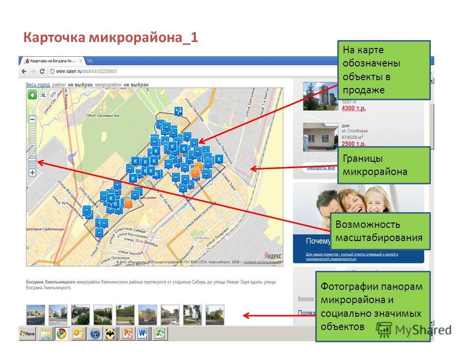 Карточка микрорайона_1 На карте обозначены объекты в продаже Границы микрорайона Фотографии панорам микрорайона и социально значимых объектов Возможность масштабирования