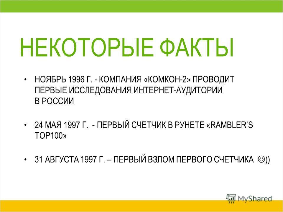 НЕКОТОРЫЕ ФАКТЫ НОЯБРЬ 1996 Г. - КОМПАНИЯ «КОМКОН-2» ПРОВОДИТ ПЕРВЫЕ ИССЛЕДОВАНИЯ ИНТЕРНЕТ-АУДИТОРИИ В РОССИИ 24 МАЯ 1997 Г. - ПЕРВЫЙ СЧЕТЧИК В РУНЕТЕ «RAMBLERS TOP100» 31 АВГУСТА 1997 Г. – ПЕРВЫЙ ВЗЛОМ ПЕРВОГО СЧЕТЧИКА ))